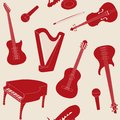 Seamless pattern with musical instruments silhouettes Stock Photo