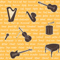 Seamless pattern with musical instruments and text Stock Photography