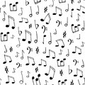 Seamless background with music notes