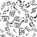 Seamless pattern musical notes, black and white Royalty Free Stock Photo