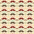 Seamless pattern with mustache vector background or texture colorful glasses and curly vintage retro gentleman mustaches for Royalty Free Stock Photo