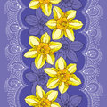 Seamless pattern with narcissus flower or daffodil and white lace on the violet background. Floral background in contour style Royalty Free Stock Photo
