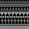 Seamless pattern with native zigzag ornaments. Hand drawn ethnic aztec border. White contour Black on background. Vector