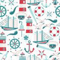 Seamless pattern of nautical design elements in flat style