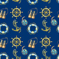 Seamless pattern with nautical elements, on dark blue background. Old sea binocular, lifebuoy, antique sailboat steering