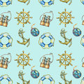 Seamless pattern with nautical elements, isolated on pastel turquoise background. Old binocular, lifebuoy, antique sailboat steeri