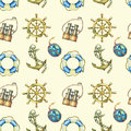 Seamless pattern with nautical elements, isolated on pastel yellow background. Old binocular, lifebuoy, antique sailboat steering