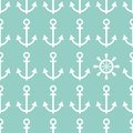 Seamless pattern nautical made of anchors and helm Royalty Free Stock Image