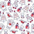 Seamless pattern with New year, Christmas outline icons with color. Background for different design
