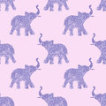 Seamless pattern with nice abstract elephants of glitter. Their trunks raised up - good luck symbol. Violet background Royalty Free Stock Photo