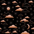 Seamless pattern with night sky. Moon, stars and clouds in golden color on black background. Vector illustration.