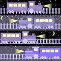 Seamless pattern with night trains cartoon on sky Royalty Free Stock Photos