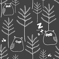 Seamless pattern of night in woodland with cute owls.