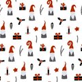 Seamless pattern with Nordic Gnomes and christmas festive decorations. Hand drawn scandinavian print.