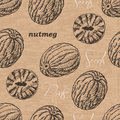 Seamless pattern with nutmeg on a vintage background