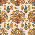 Seamless pattern with oaks cute cartoon Stock Image