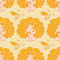 Seamless pattern with oaks on a yellow background cute cartoon Royalty Free Stock Images
