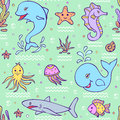 Seamless pattern with ocean animals vector illustration of underwater world Stock Photos