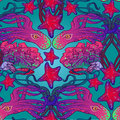 Seamless pattern with octopus, starfish and coral reef in Art Nouveau style. Intricate composition, bright colours. Royalty Free Stock Photo