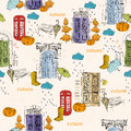 Seamless pattern with old doors, clouds, rain, pumpkins, telephone booth, rubber boots, bench in vintage style.