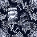 Seamless pattern with old sailing vessel, anchor, gull and nautical compass on blue