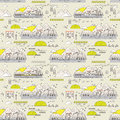 Seamless pattern of old town