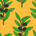 Seamless pattern olive branch Royalty Free Stock Photo