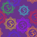 Seamless pattern of om signs colorful Stock Photos