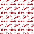 Seamless pattern with one hundred percent cherries in flat style