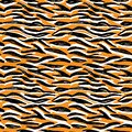 Seamless pattern orange black white tiger fur design, abstract simple lines scandinavian style background grunge texture. trend of Royalty Free Stock Photo