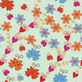 Seamless pattern with orange flowers Stock Photo