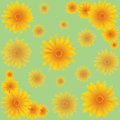 Seamless pattern with orange flowers green marigold flower Royalty Free Stock Photo