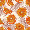 Seamless pattern with orange fruits