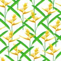 Seamless pattern orange heliconia flower vector illustration, tropical plant repeat