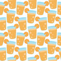 Seamless pattern of orange juice cartoon vector illustration Stock Photos