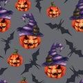 Seamless pattern orange pumpkin in a hat, bat on a grey background. Halloween Horror nightmare.
