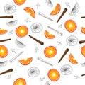 Seamless pattern of orange slices
