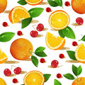 Seamless pattern with oranges slices and green leaves realistic illustration vector fresh ripe Stock Images