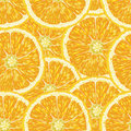 Seamless pattern with oranges slices and green leaves realistic illustration vector fresh ripe Royalty Free Stock Image