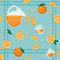 Seamless pattern with oranges whole and segmented juice in pitcher and in glasses on checked background vector file is eps all Royalty Free Stock Images