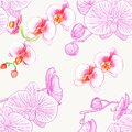 Seamless pattern with orchids. Watercolor