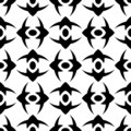 Seamless pattern with ordered arrangement of abstract geometric shapes. Image of black crosses on a white background. Colorful