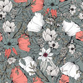 Seamless pattern with organic rounded and stripe shapes