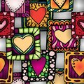Seamless pattern of original hearts in frames. Royalty Free Stock Images