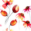 Seamless pattern with original red flowers watercolor illustration Stock Photo