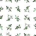 Seamless pattern ornament openwork delicate flowers and leaves with curls and vines green pink