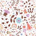 Seamless pattern of ornamental flowers, plants, leaves and small circles.