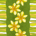 Seamless pattern with ornate narcissus flower or daffodil on the green background with stripes. Royalty Free Stock Photo
