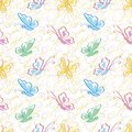 Seamless pattern, outline colorful butterflies
