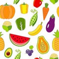 Seamless pattern with outlined fruits and vegetables